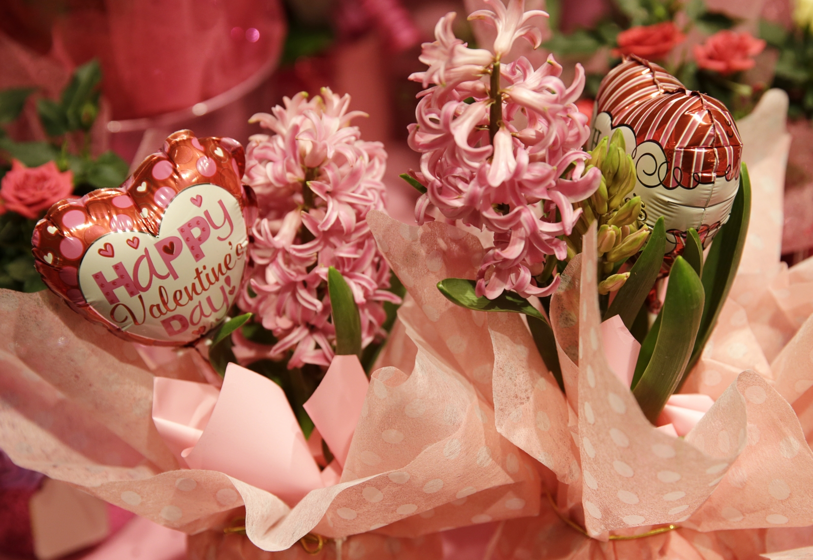 A Valentine's Day floral arrangement is seen at the Safeway store in Wheaton, Maryland