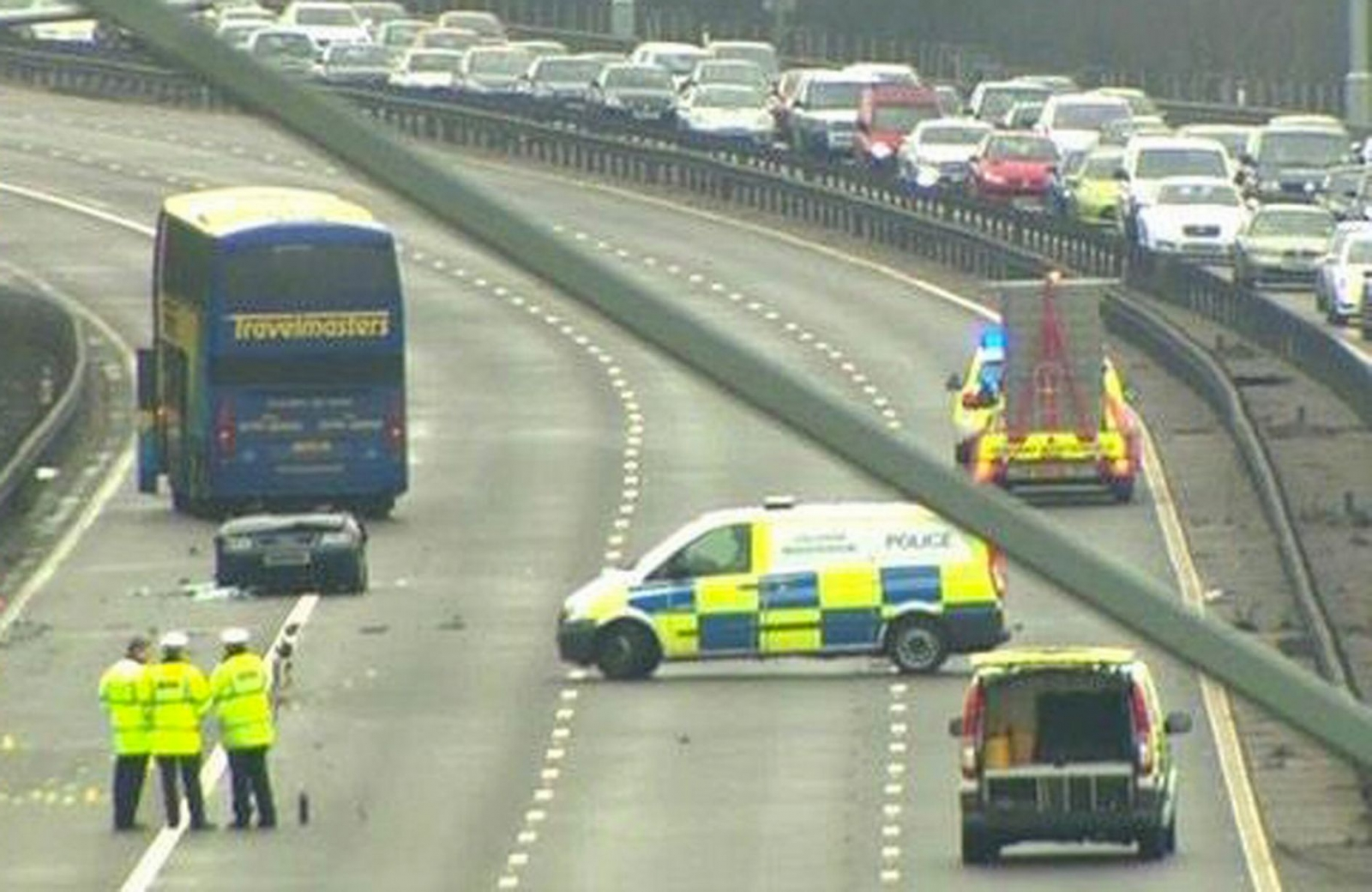 The scene of today's crash, in which three men were killed. (BBC)
