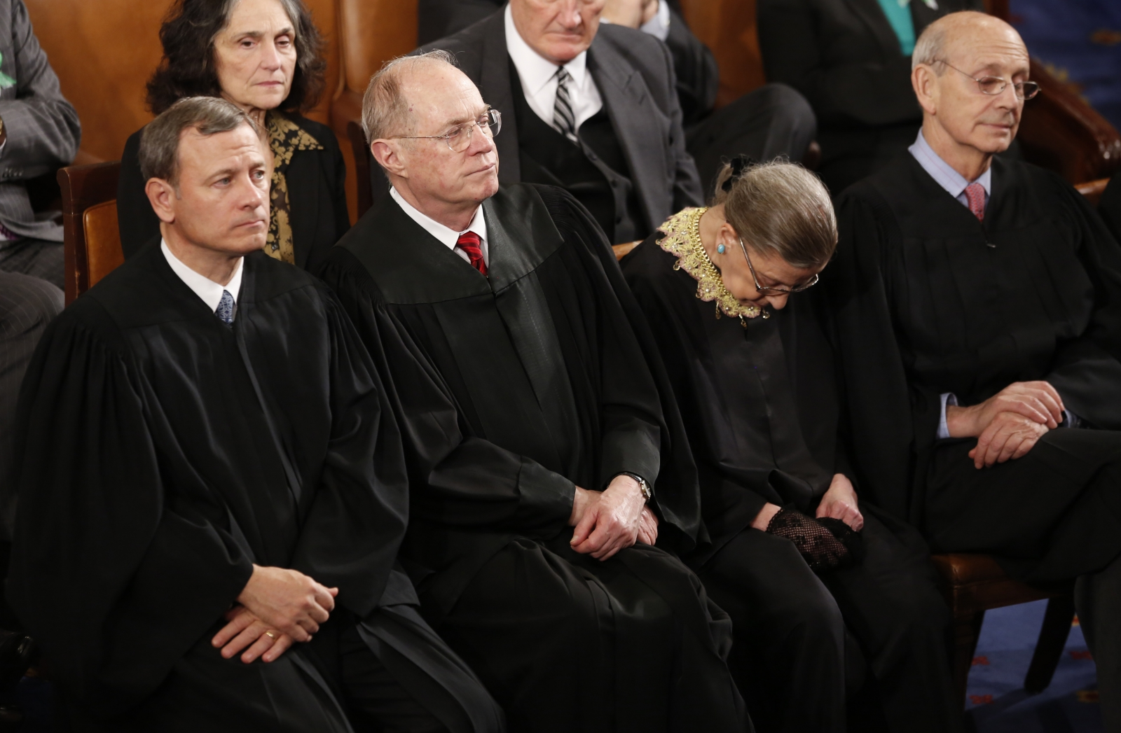 US Supreme Court Chief Justice Ruth Bader Ginsburg nods off as US President Barack Obama delivers his State of the Union speech