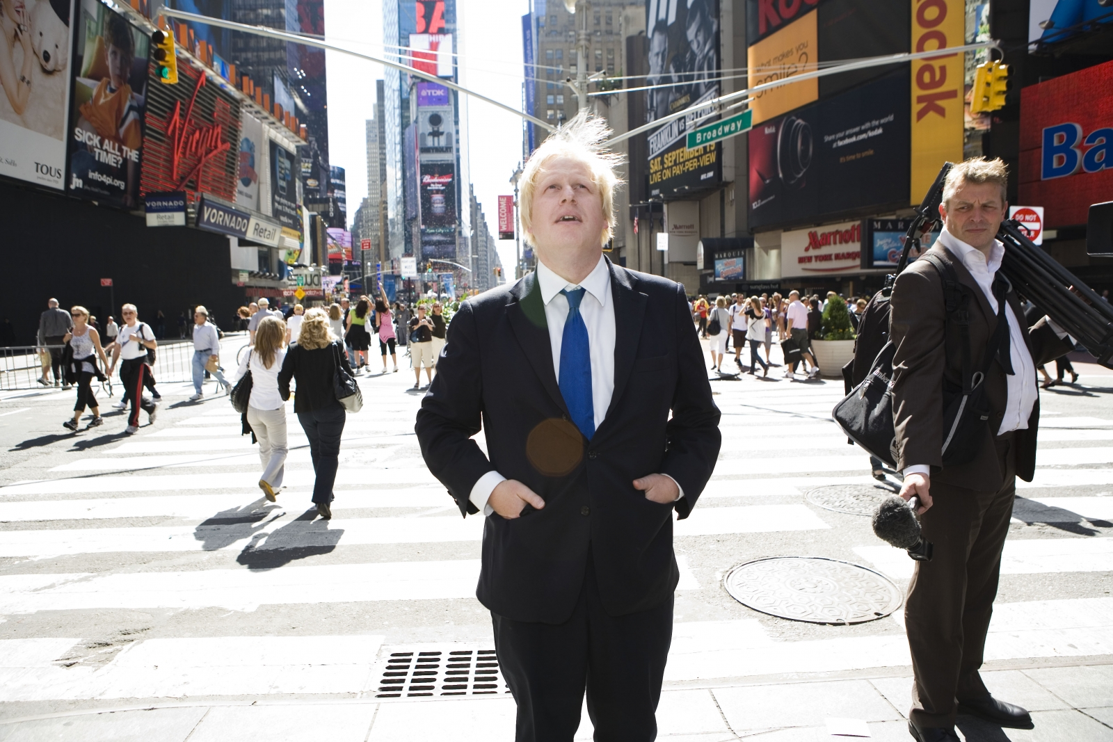Boris Johnson in Times Square, New York. Johnson plans to give up his US passport. (Getty)