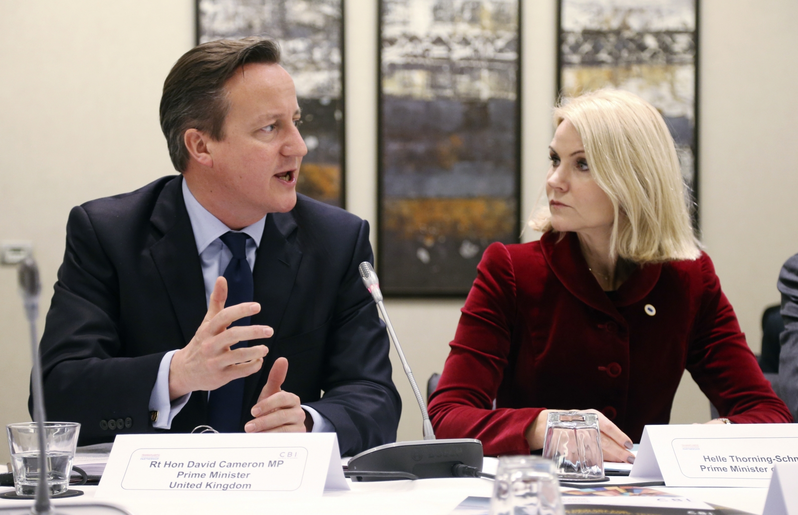 David Cameron and Minister Helle Thorning-Schmidt