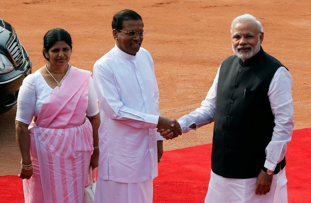 Sri Lanka's Maithripala Sirisena and India's Narendra Modi