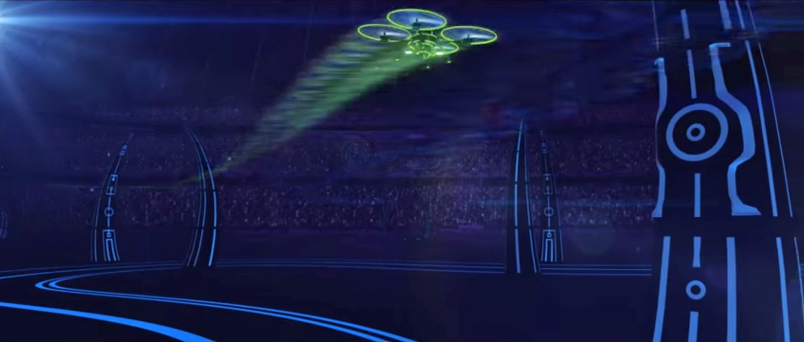 A Dutch event promoter wants to hold the world's first live helicopter drone entertainment show this year at the Amsterdam arena. This is a visualisation of a drone race