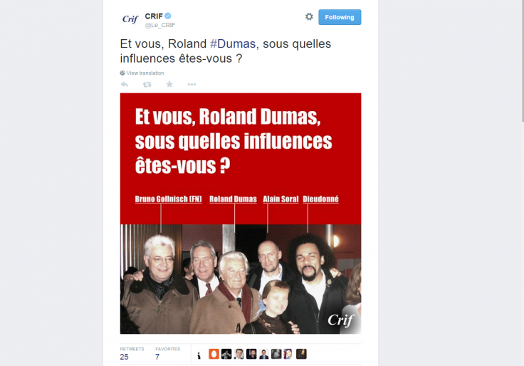 The picture was tweeted by the French Jewry's political umbrella organisation on Twitter
