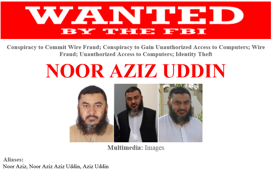 Noor Aziz Uddin FBI interpol cybercriminal