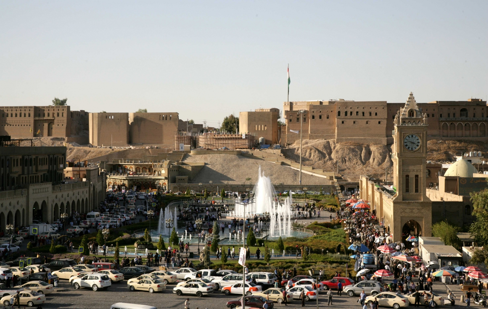 A picture shows on October 12, 2013 the citadel and the City Park in the center of the northern regional capital of Erbil in Iraq.