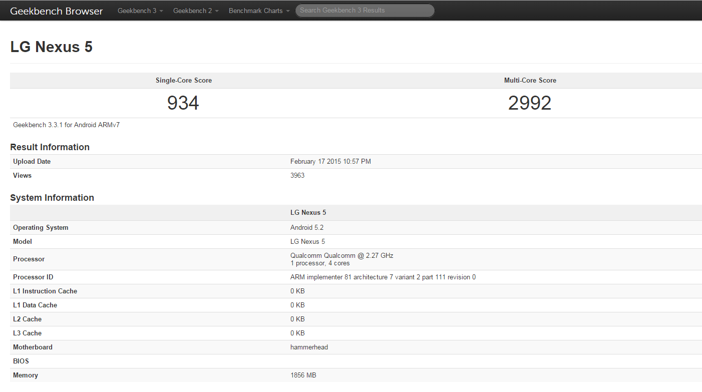 Android 5.2 Lollipop update spotted running on Nexus 5 in new Geekbench tests
