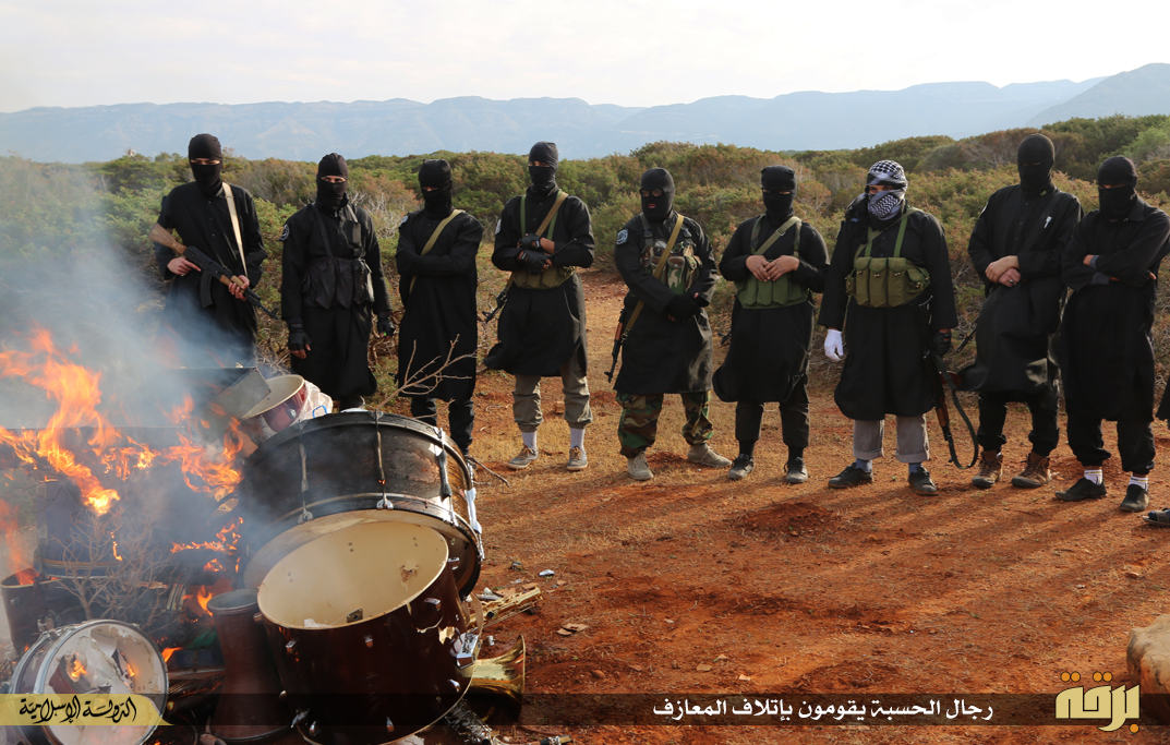 Isis Libya burn musical instruments