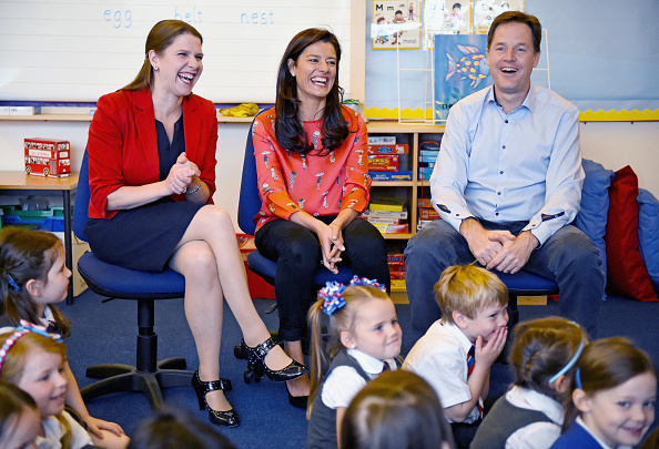 Deputy Prime Minister Nick Clegg, his wife Miriam Gonzalez Durantez (C) and Jo Swinson