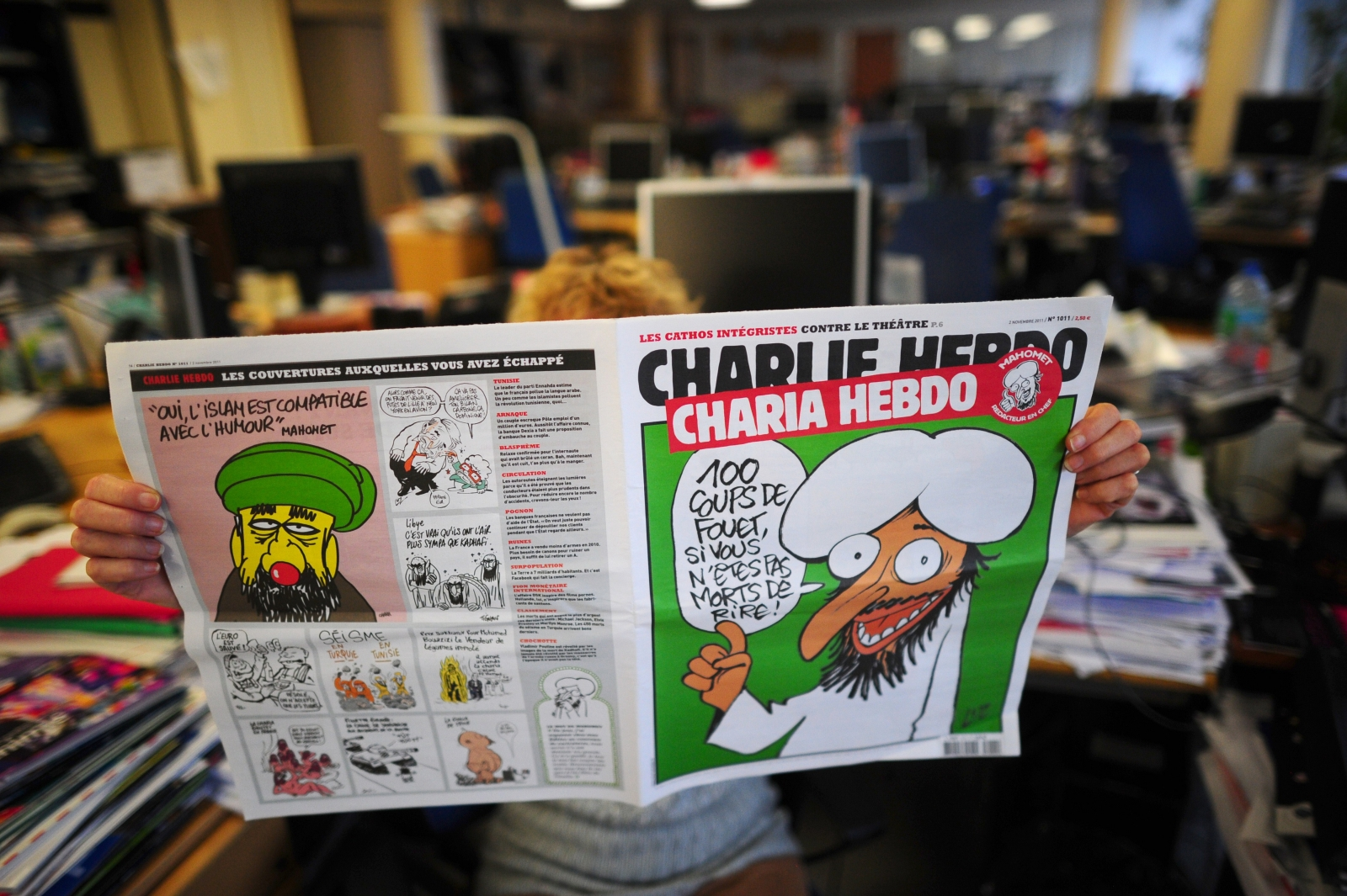 The 'survivors issue' of Charlie Hebdo, published a week after terrorists murdered staff members at the magazine. (Getty)