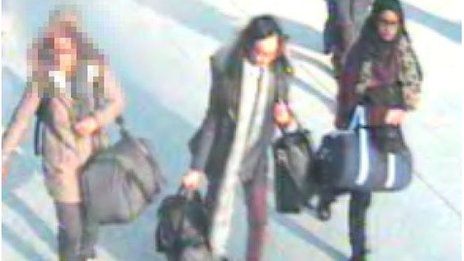 The girls were caught at Gatwick Airport on CCTV (Met Police)