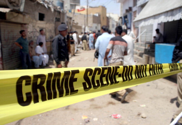 Karachi crime scene. Kidnappers set alight a local student and pushed him from a van on an attack in Friday. (Anadolu/Getty)
