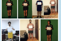 Azeri men in mini skirt protest against sexual violence against women