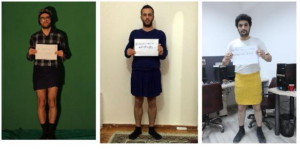 Azeri men in mini skirt protest