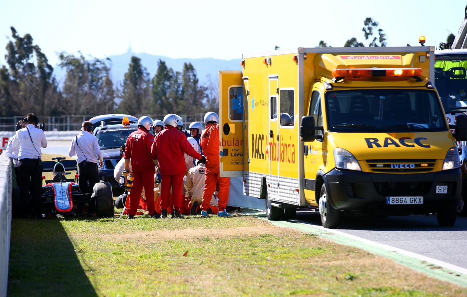Fernando Alonso airlifted to hospital after crash during testing in Barcelona