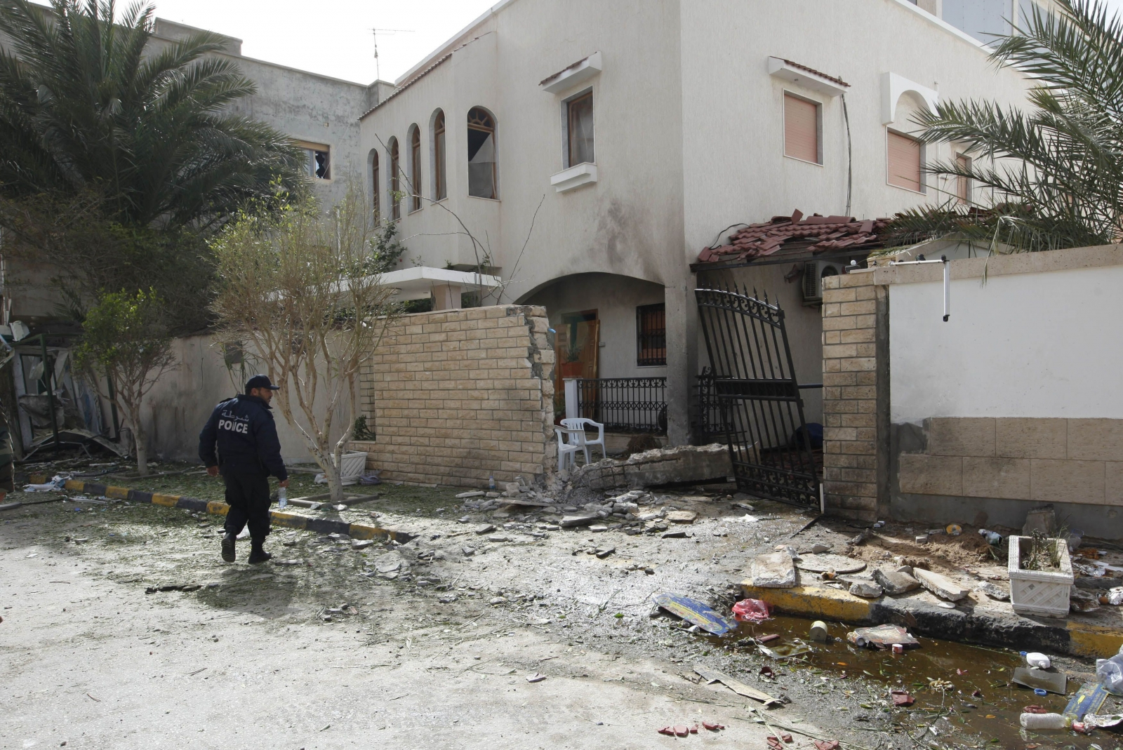 The damage caused by today's bomb attack on Iran's embassy in Tripoli, Libya. (Reuters)