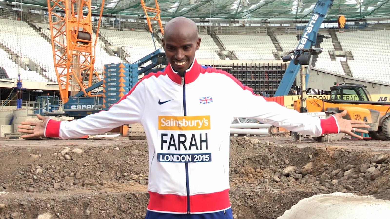 Mo Farah launches 2015 Sainsbury's Anniversary Games at Olympic Stadium