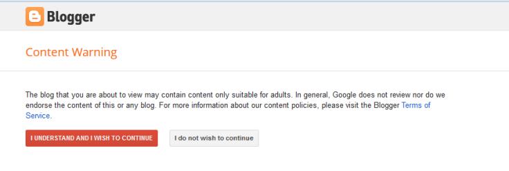 Blogger Content Warning