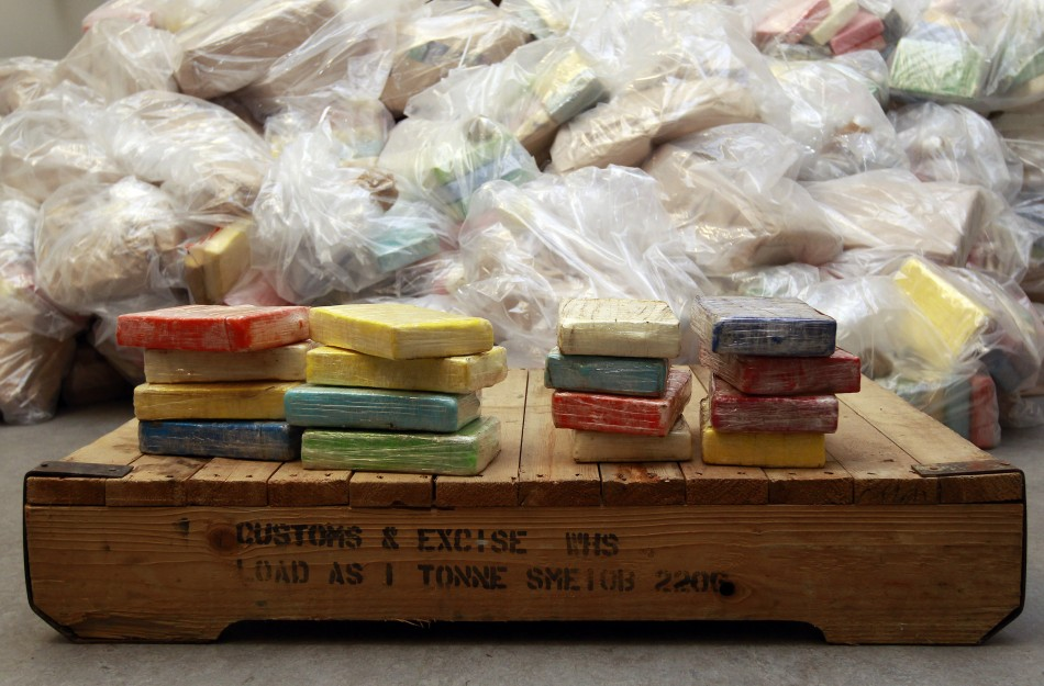 Cocaine from Britain's largest ever cocaine seizure is seen on display in London