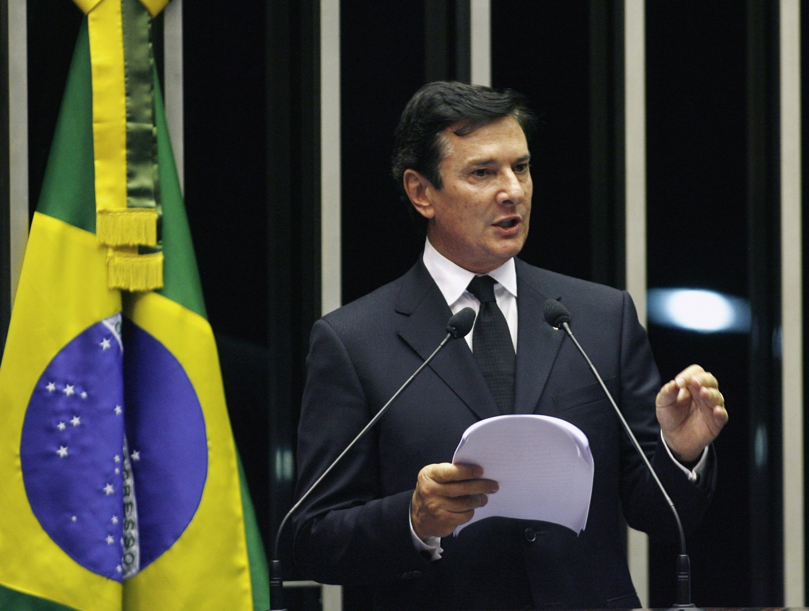 Brazil's former president Fernando Collor de Mello speaks at Federal Senate for the first time after becoming Senator in Brasilia March 15, 2007.