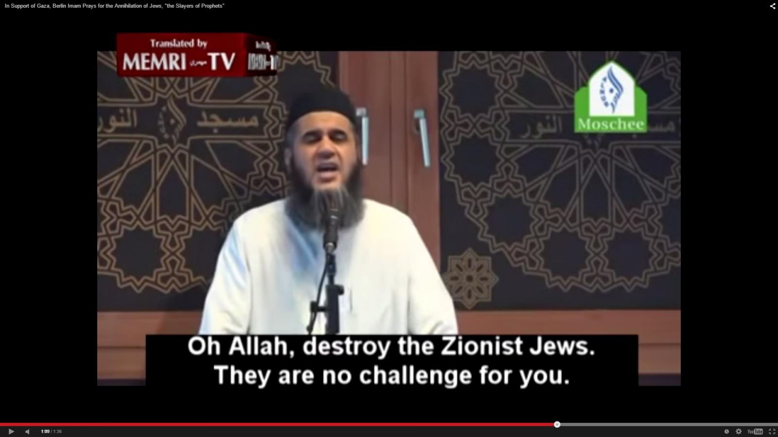 Abu Bila Ismail makes his Berlin sermon. (YouTube)