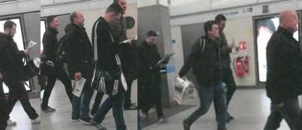 Alleged Chelsea fans at St Pancras Station