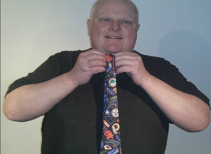 Rob Ford is auctioning the tie he wore at the nadir of crack pipe revelations