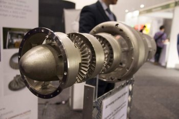Close-up of the 3D-printed jet engine, on show at the International Air Show in Avalon, Australia