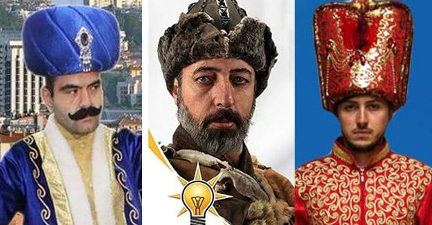 AKP party candidates in extravagant Ottoman costumes.