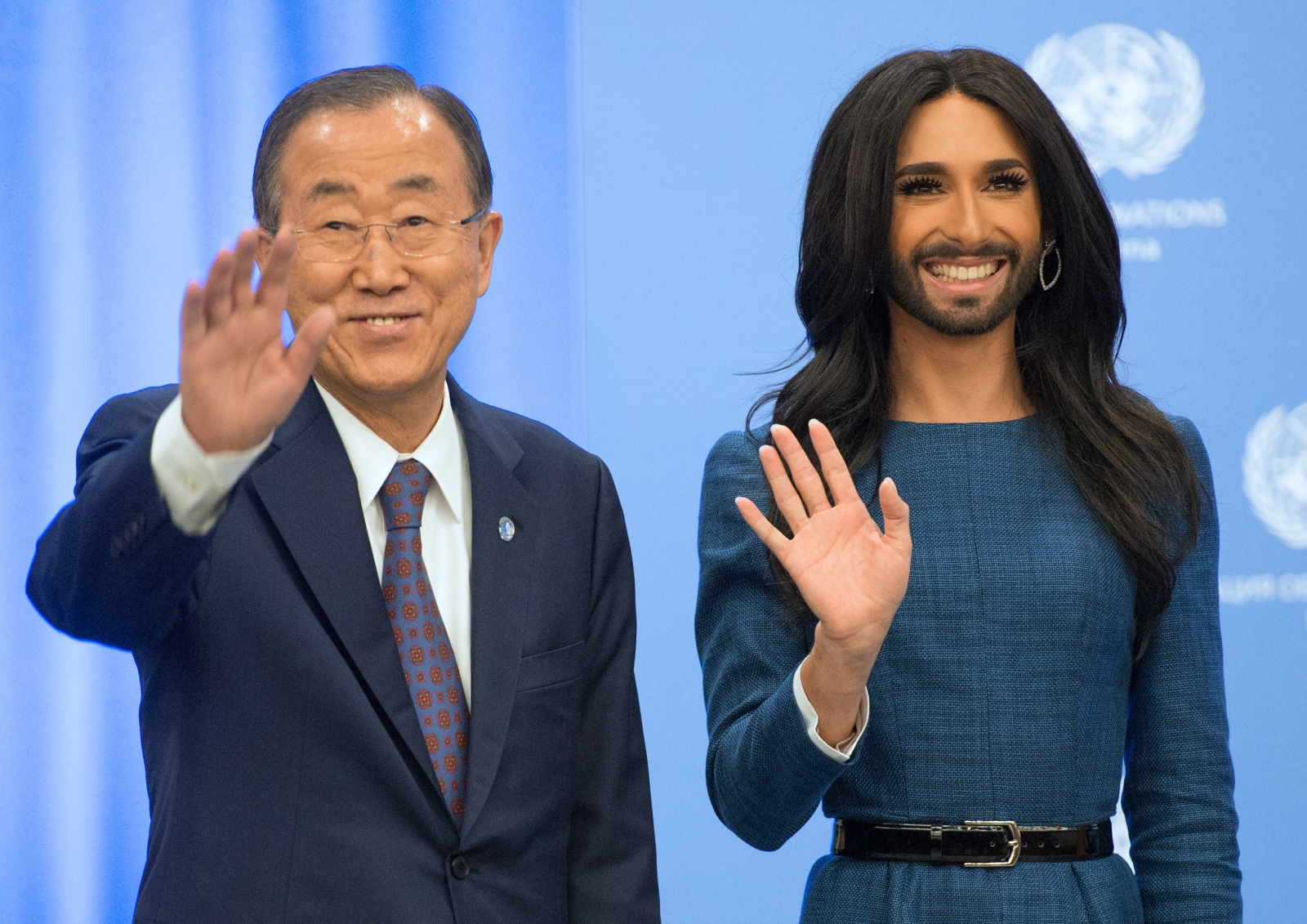 Ban ki Moon and Conchita Wurst