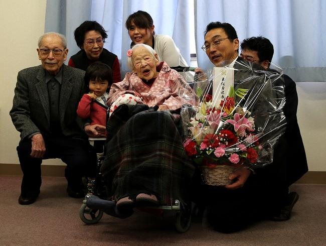Misao Okawa celebrating her 117th birthday