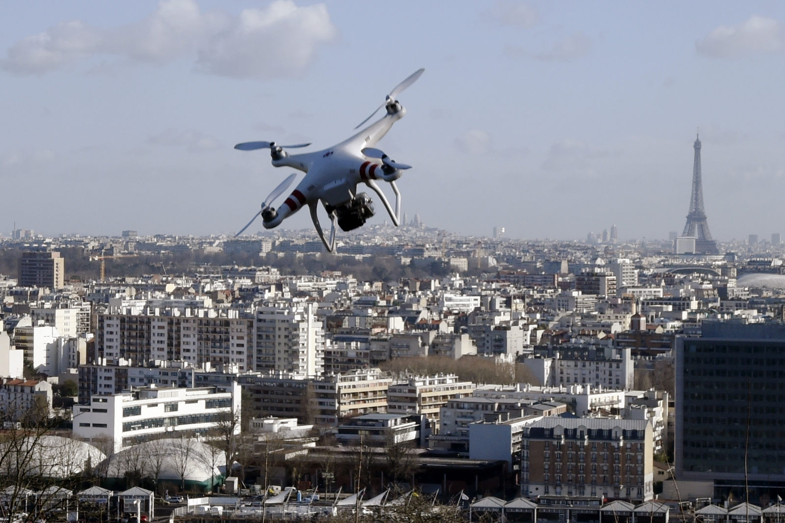 A helicopter drone flying over Paris