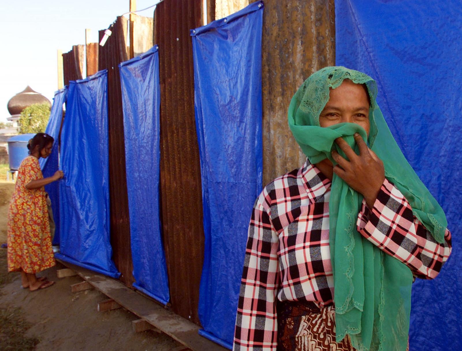 toilet refugee camp