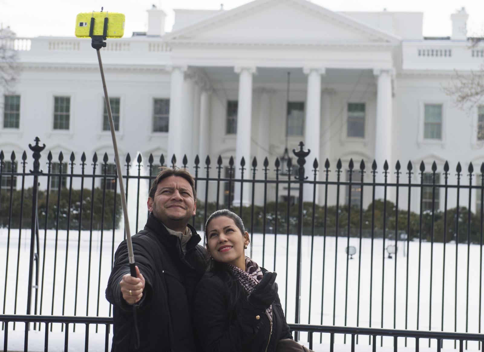 Tourists selfie stick