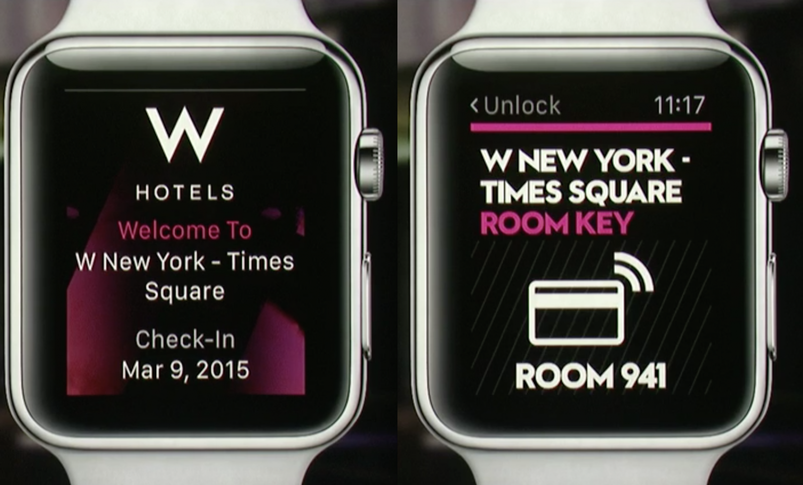 Apple Watch W Hotels app