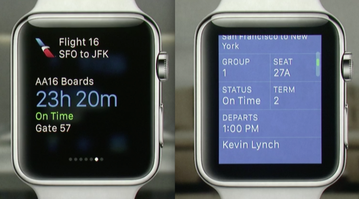 Plane boarding pass app for Apple Watch
