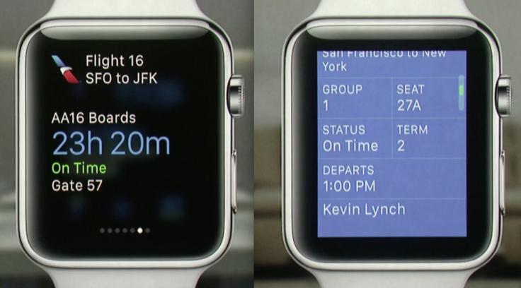 Plane boarding pass app for Apple Watch