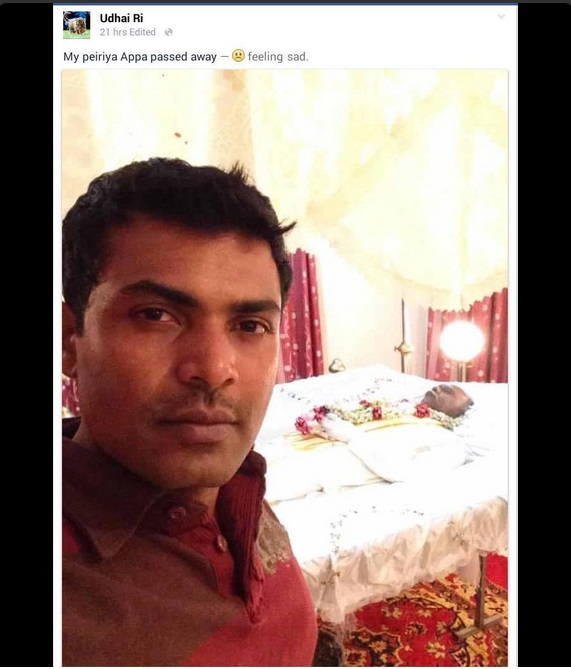 Sri lankan Man's Selfie with dead uncle