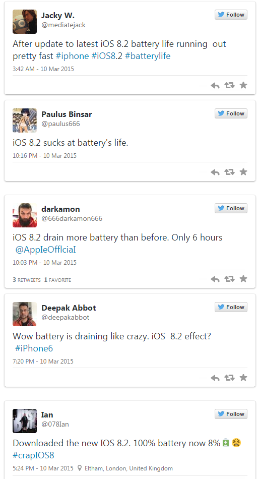 iOS 8.2 battery life issues
