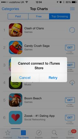 itunes down apple app store