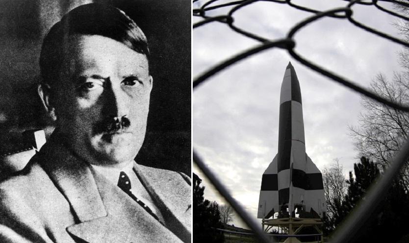Adolf Hitler bombed Germans with V2s (left)