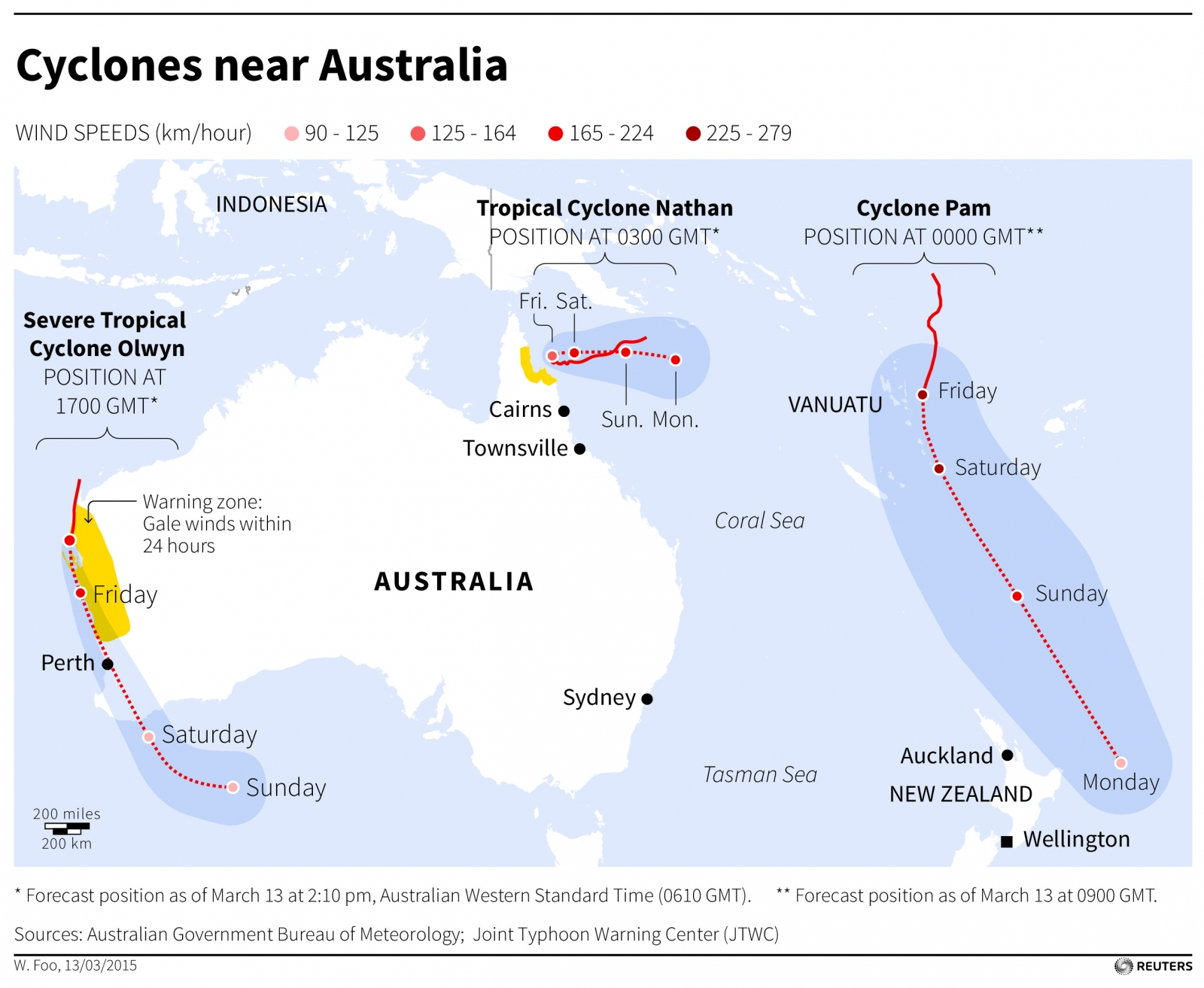 Map of Cyclones Pam, Olwyn and Nathan