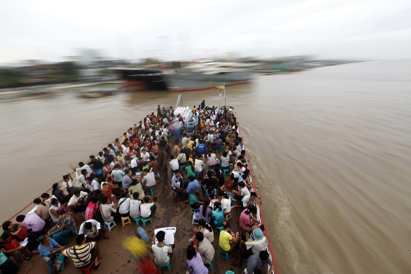 Ferry on Yangoon River in Myanmar