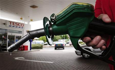 A petrol pump is seen at Tesco's in Leeds, northern England