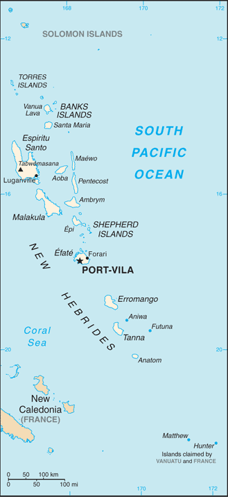 Republic of Vanuata map