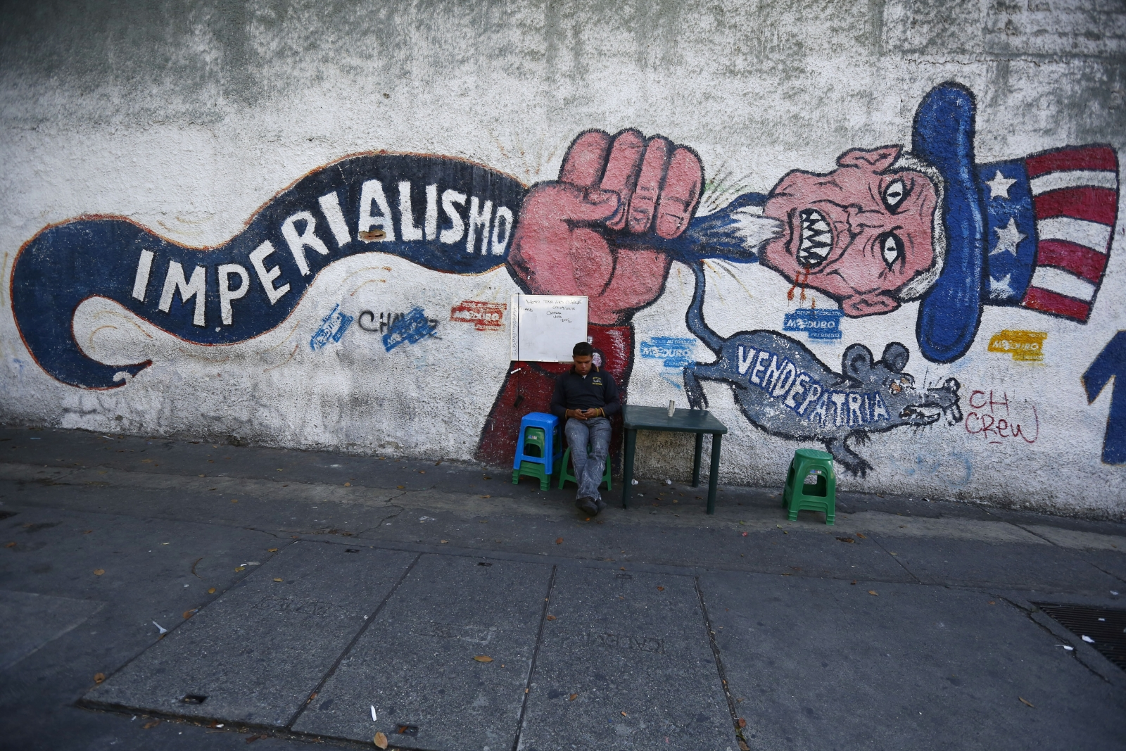 US Venezuela threat graffiti