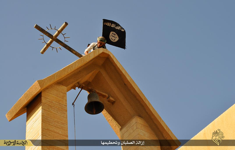 Isis smashing crosses Mosul monastery