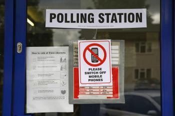 polling station sign Oxford general election UK