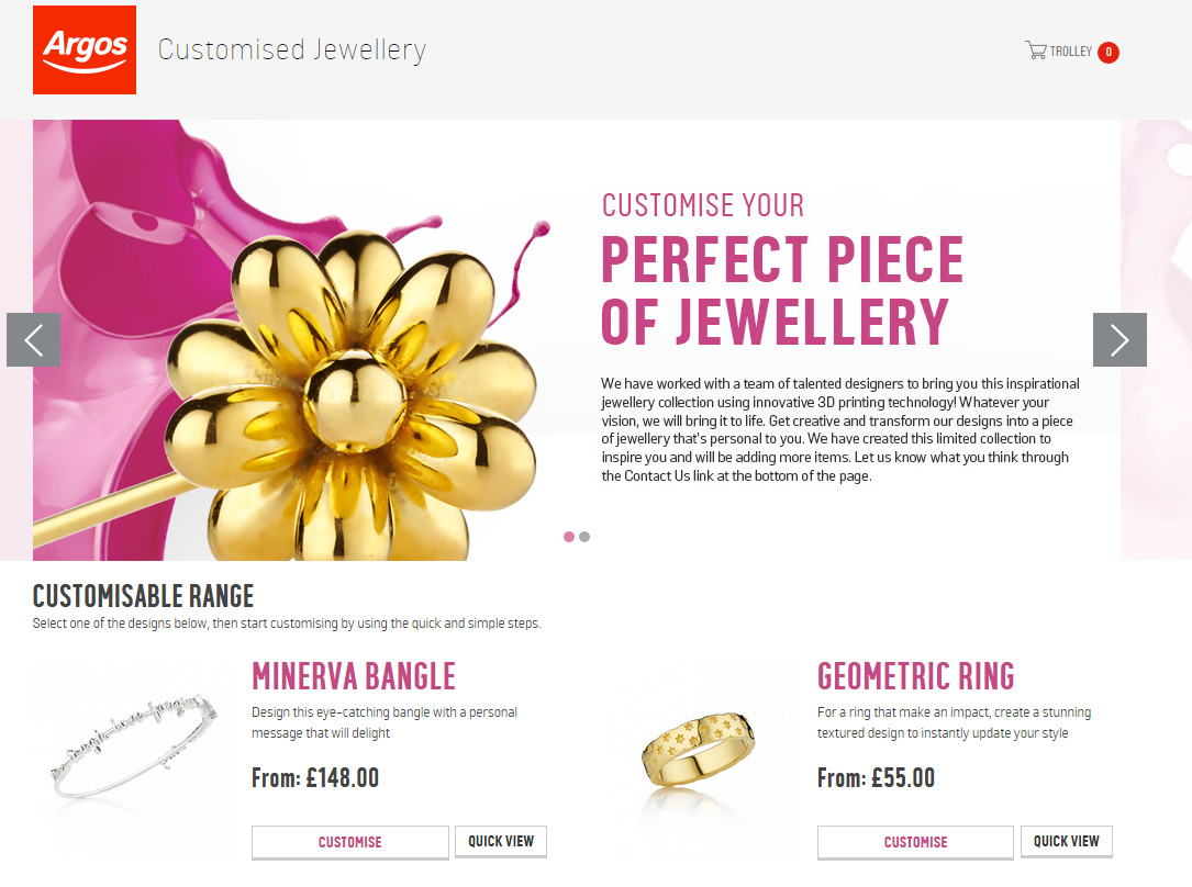 Argos is trialling 3D-printed jewellery