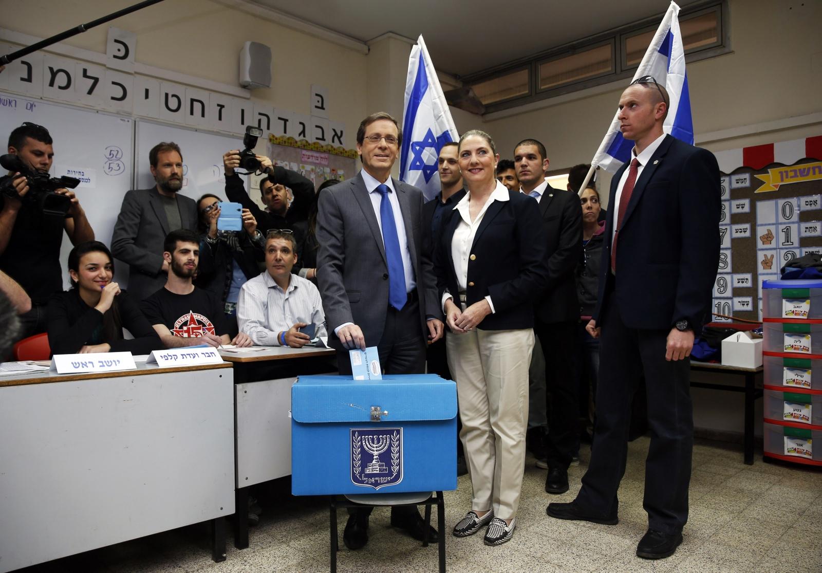 Isaac Herzog voting Israeli elections